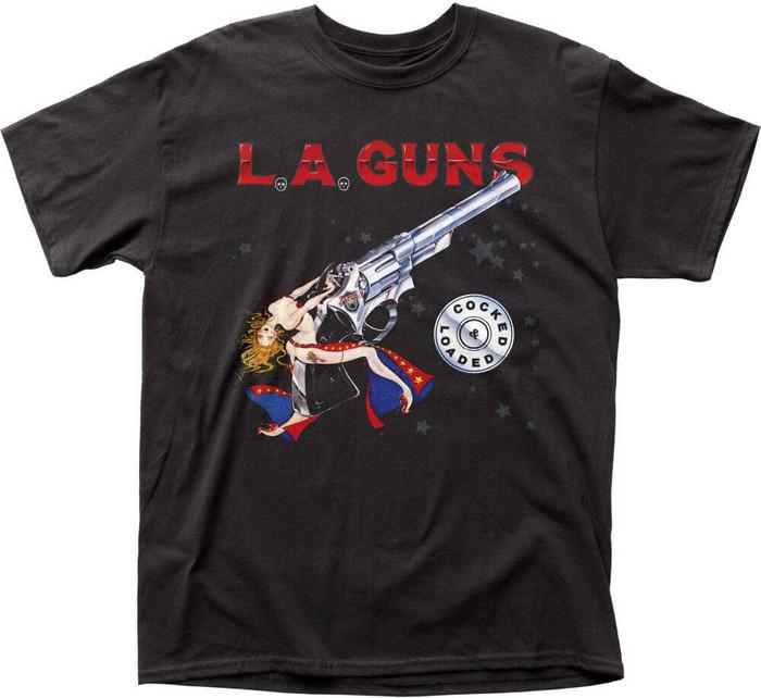 LA Guns Cocked and Loaded Album Cover Artwork Men's Black T-shirt