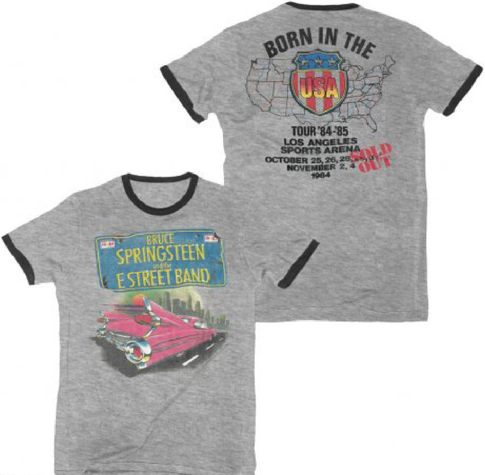 Bruce Springsteen and the E Street Band Born in the USA Tour 1984-1985 Los Angeles Sports Arena October-November 1984 Men's Gray and Black Ringer Vintage Concert T-shirt