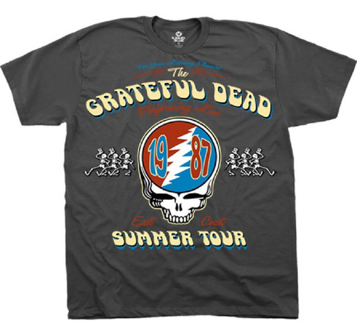 Grateful Dead Summer Tour 1987 Performing Live East Coast with Vector Lightning Skull Logo Men's Gray Concert T-shirt