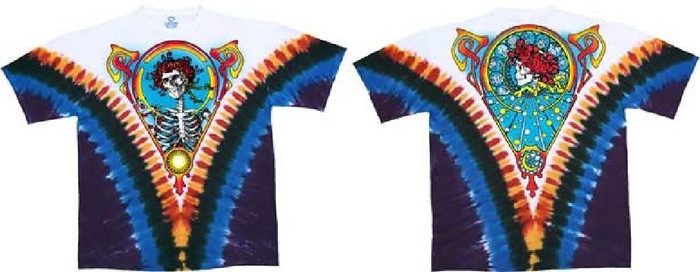 Grateful Dead Skull and Roses Bertha Album Cover Artwork Men's White Tie-Dye T-shirt