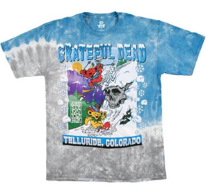 Grateful Dead at the Telluride, Colorado Town Park August 15-16, 1987 Men's Tie-Dye Concert T-shirt