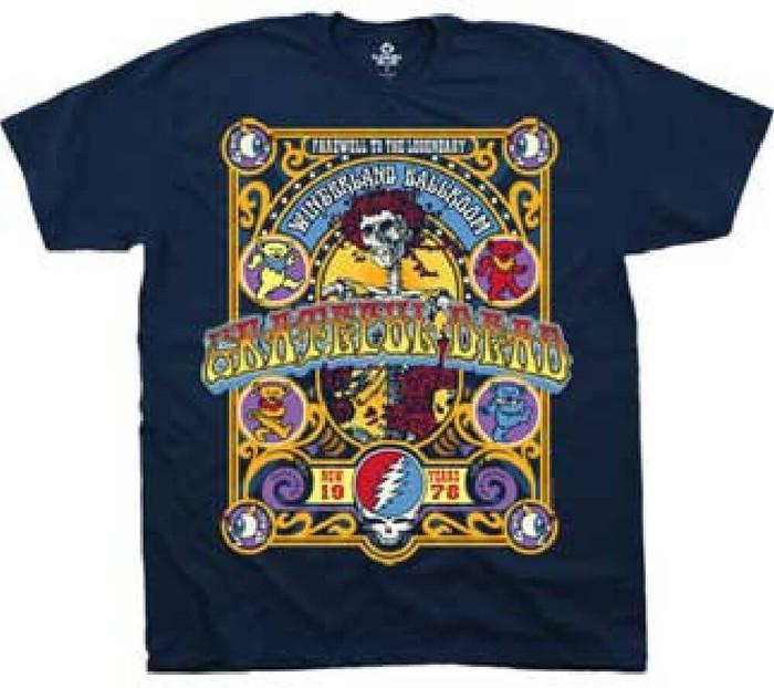 Grateful Dead Farewell to the Legendary Winterland Ballroom New Years 1978 Men's Blue Concert T-shirt