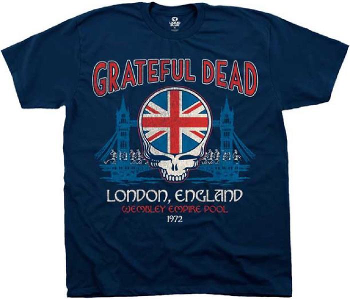 Grateful Dead Wembley Empire Pool London, England 1972 Men's Blue Vintage Concert T-shirt