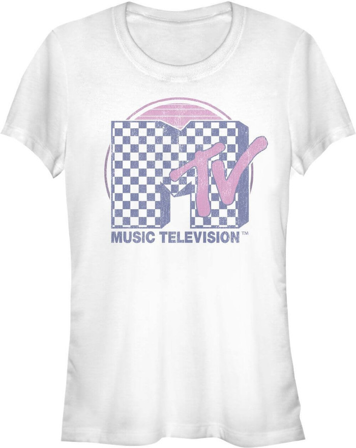 MTV Music Television Checkerboard Logo Women's White Vintage T-shirt