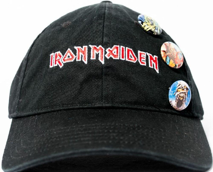 Iron Maiden Logo Black Baseball Cap with Eddie the Head Buttons - Front