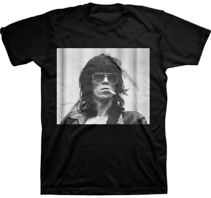 Rolling Stones Keith Richards Smoking Photograph Men's Black T-shirt