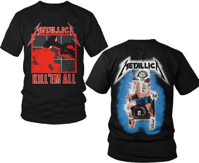 Metallica Kill Em All Album Cover Artwork with Electrocuted Skeleton Logo Men's Black T-shirt