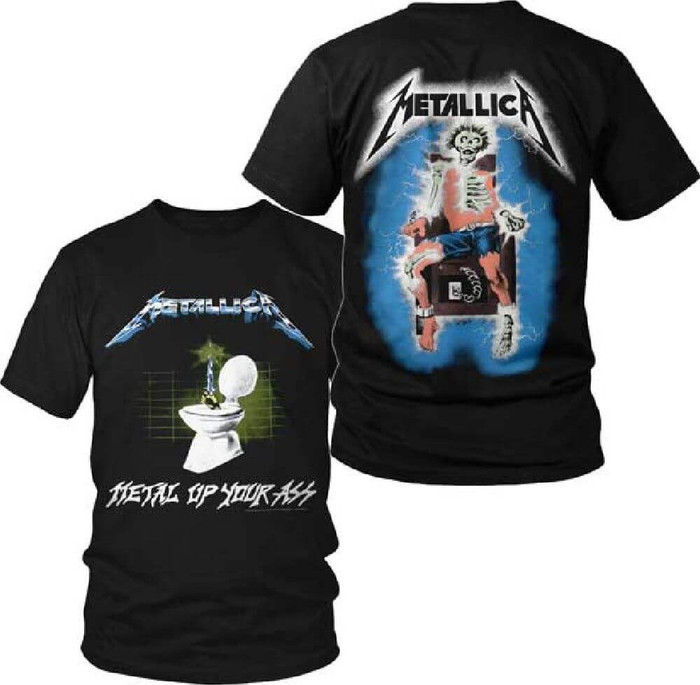 Metallica Metal Up Your Ass Album Cover Artwork with Electrocuted Man Skeleton Logo Men's Black T-shirt