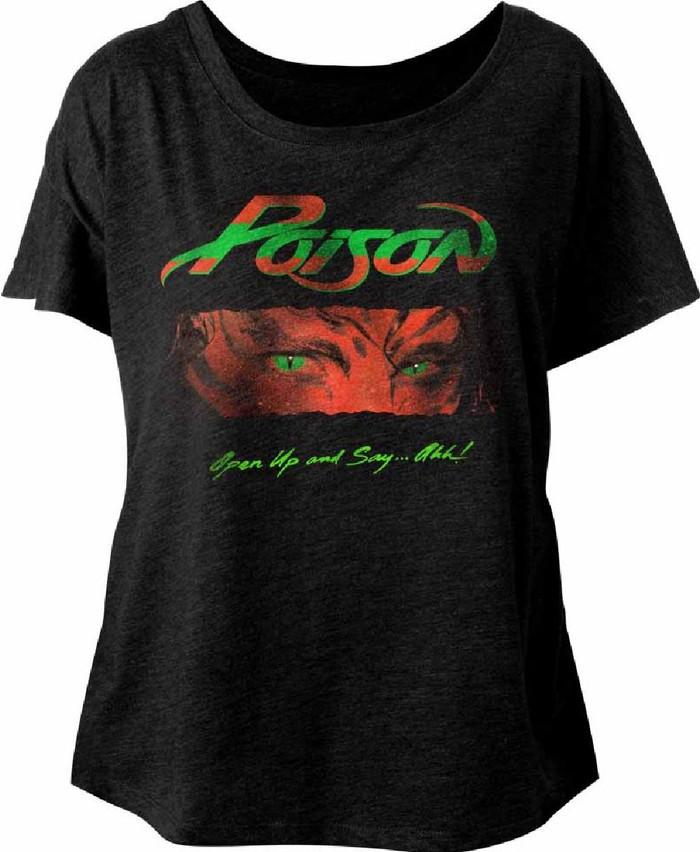 Poison Open Up and Say...Ahh Album Cover Artwork Women's Black Dolman T-shirt