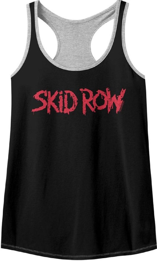 Skid Row Rock Band Logo Women's Black and Gray Tank Top T-shirt