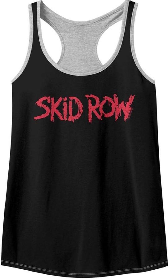 Skid Row Rock Band Logo Women's Black and Gray Racerback Tank Top Fashion T-shirt