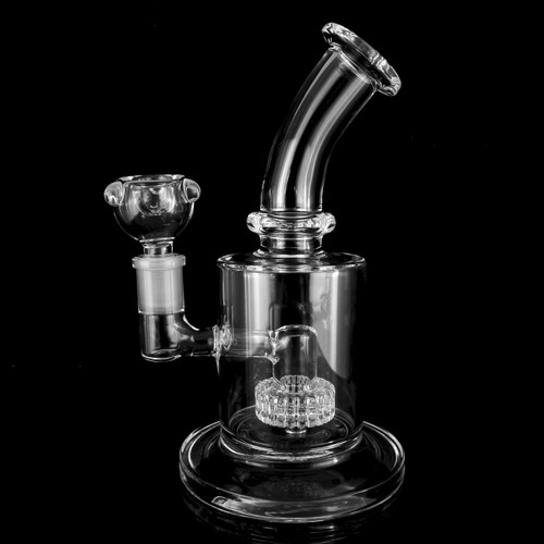 """Glassics Side View Affordable Functional Clear Scientific Glass Matrix Perc Curved Neck Bubbler 7"""" Tall With 14mm Bowl Piece"""