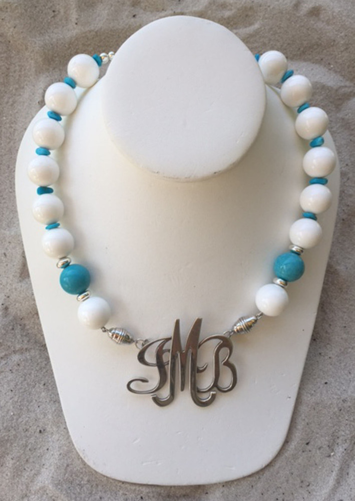 Crisp White Necklace accented with Turquoise