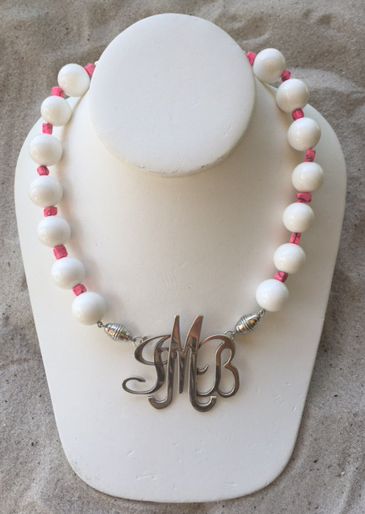 Crisp White Necklace accented with Pink
