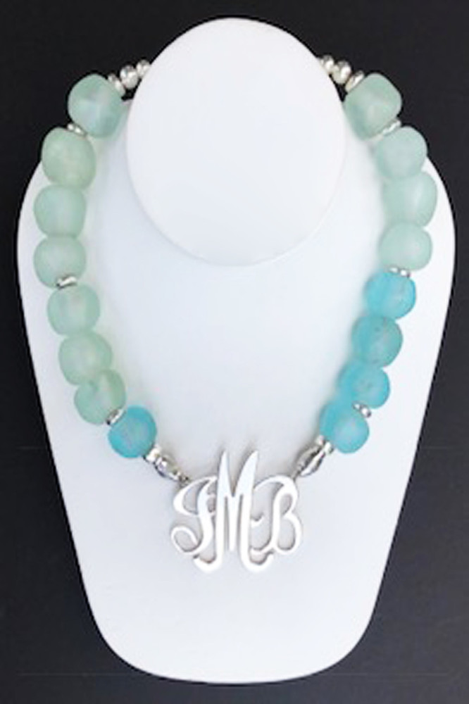 Glass Necklace in Aquamarine and Blue