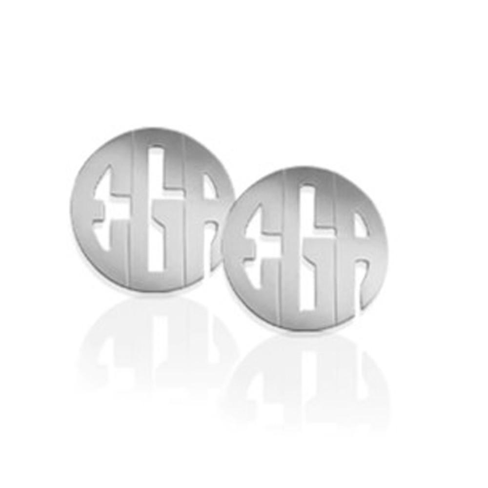 Circular Block Earrings: Sterling Silver