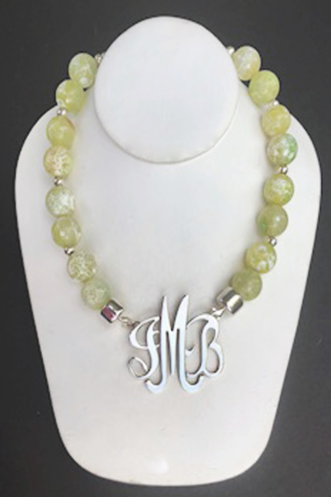 Jasper Necklace in Lime Green & White