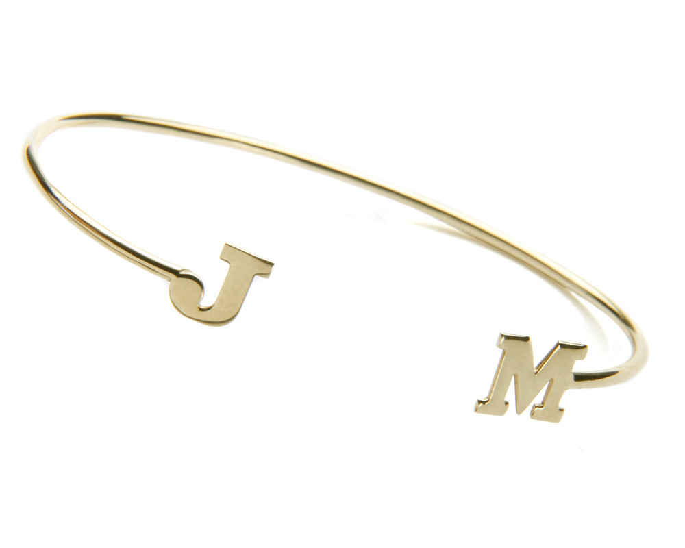 Cuff with 2 initials: Gold