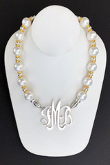 Shell Pearl Necklace: White, Round with Gold & Silver