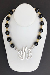 Onyx Necklace with Gold & Silver