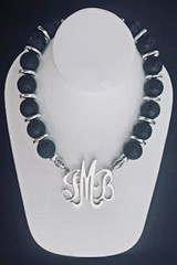 Natural Lava Necklace with Greek Silver