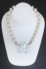 Shell Pearl Necklace (12mm Rondelle) in White with Sterling Silver