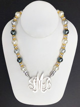 Shell Pearl Necklace (12mm Round) in White, Grey, & Metallic Black