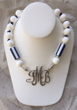 Crisp White Necklace with Navy & White Stripes