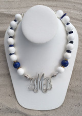 Crisp White Necklace accented with Lapis Lazuli and Gold