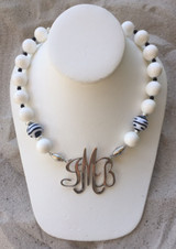 Crisp White Necklace accented with Black and White Zebra Beads