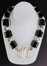 Zsiska Black Cube and Silver Dome Necklace
