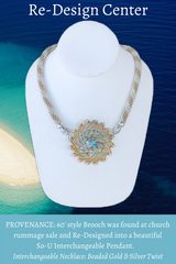 60s Turquoise & Gold Pendant: NFS
