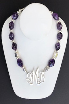 Amethyst Nugget Necklace With Greek Silver Accent