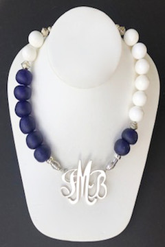 African White/Navy Asymetrical Necklace