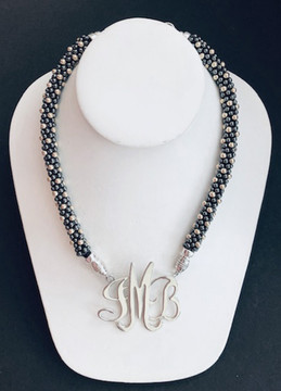 Beaded Charcoal & Soft Gold Necklace