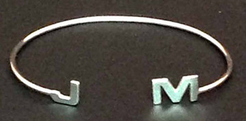 Inverted Cuff with 2-Initials: Sterling Silver