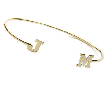 Inverted Cuff with 2-initials: 14k Gold