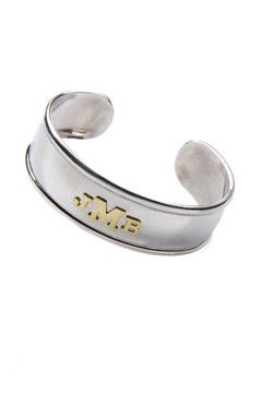 Sterling Silver Cuff with 3-14k Gold Initials