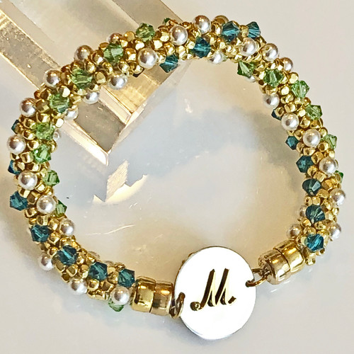 INTERCHANGEABLE BRACELET: Beaded Dazzle (Green/Gold) (Bracelet Only)