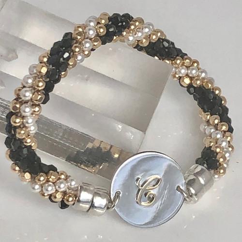 INTERCHANGEABLE BRACELET: Beaded Twist (Black/Gold/Pearl) (Bracelet Only)
