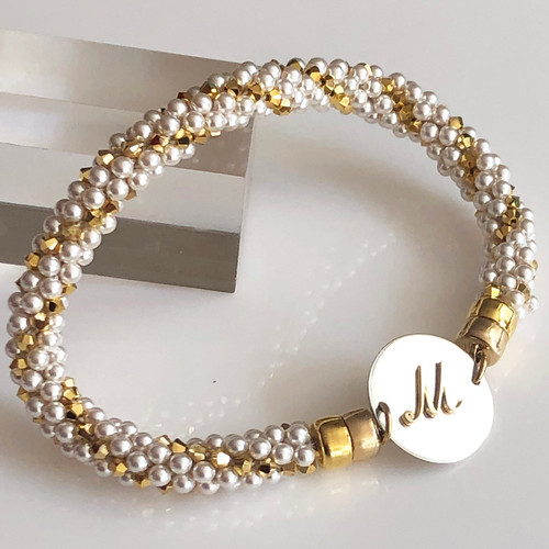 INTERCHANGEABLE BRACELET: Beaded Twist (Gold/Pearl) (Bracelet Only)