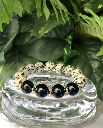 Dalmatian Jasper Bracelet with Onyx Focal Beads