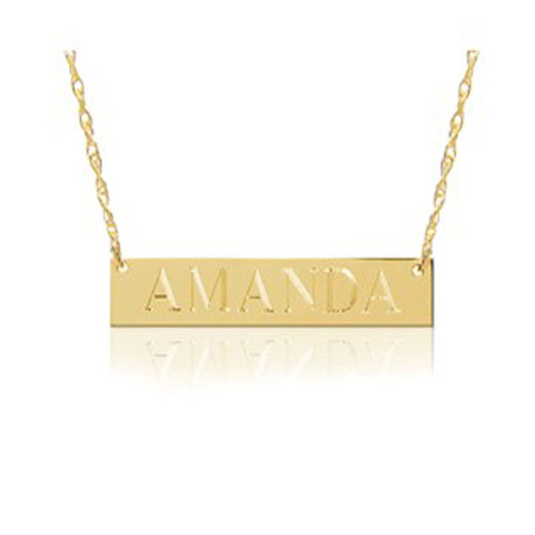 Bar Nameplate Vermeil or 14k Gold