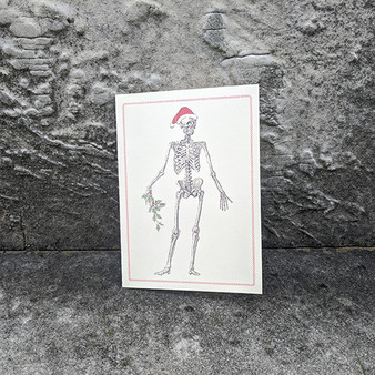 Skeleton with Holly Card