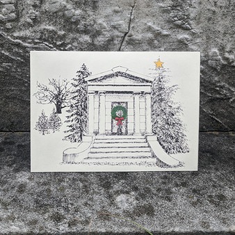 Holiday Mausoleum with Wreath Card