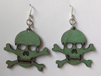 Skull and Crossbones Earrings- Green