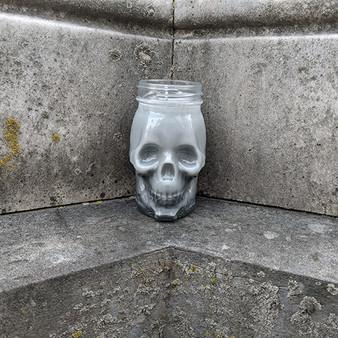 Shimmery Gray Skull Mason Jar Candle