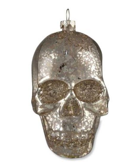 Mercury Glass Skull Ornament