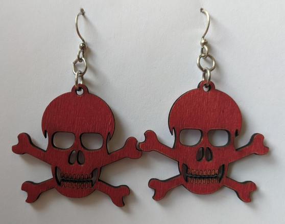 Skull and Crossbones Earrings- Red