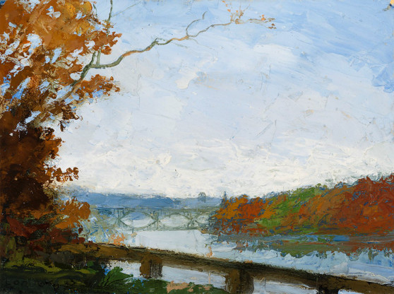 Leaves Falling, Schuykill River Vista Note Card